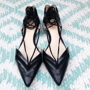 Zara pointed lace ballerina leather snakeskin